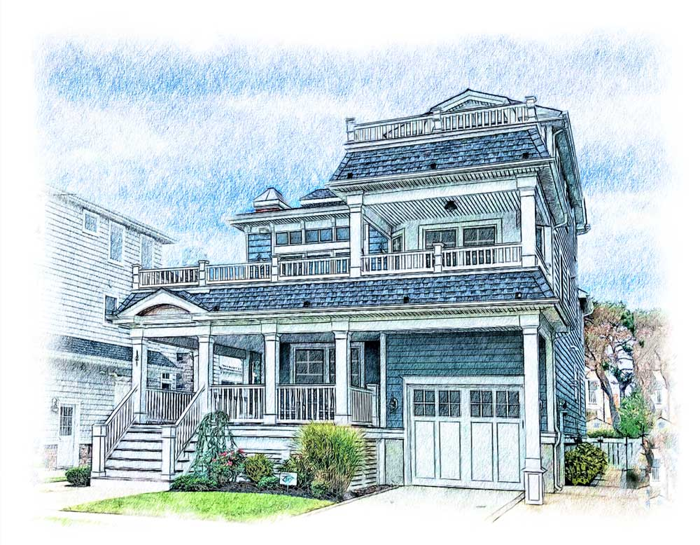 beach house colored sketch