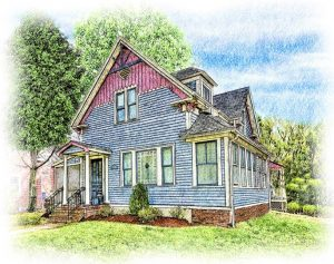 blue cottage sketched in colored pencil
