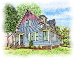 colored pencil portriat of blue and red sided cottage