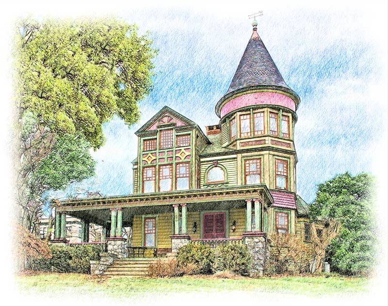 Colored pencil drawing of victorian home
