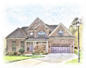 colored pencil sketch of a brick colonial home