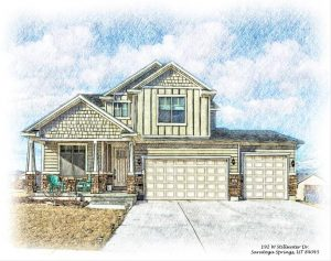 modern farm house sketched in colored pencil