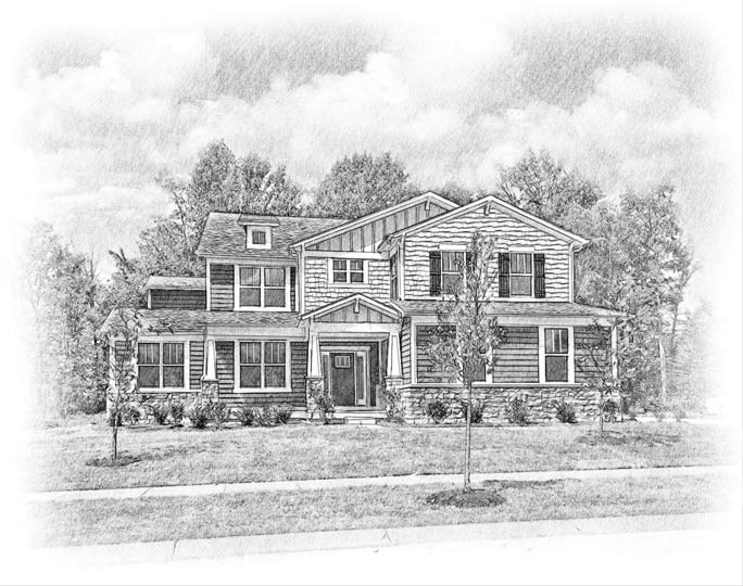 custom house portrait of a craftsman sytle home