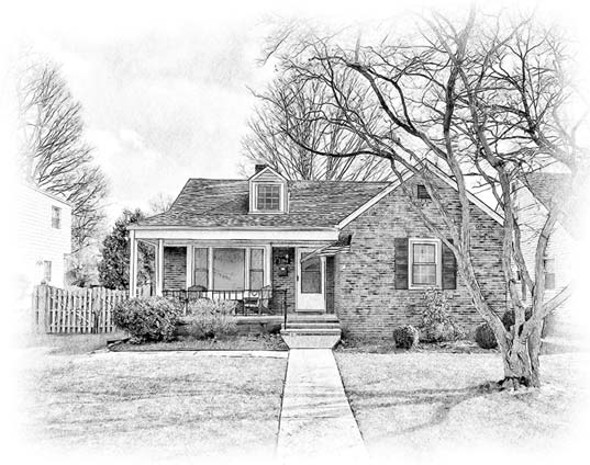 pencil sketch ranch home