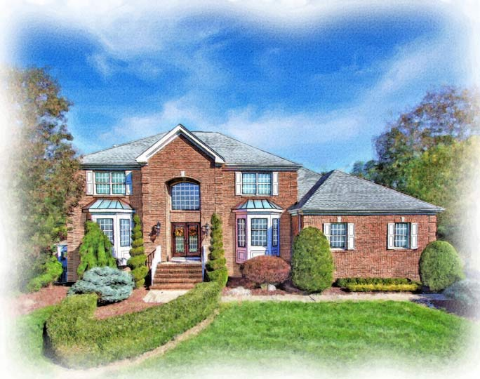 brick two story home painted in watercolor