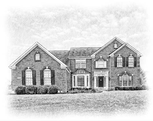 pencil portrait of estate home