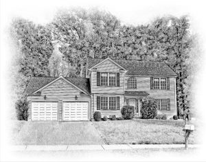 custom pencil sketch of traditional colonial