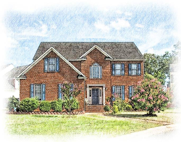 colored pencil red brick colonial home