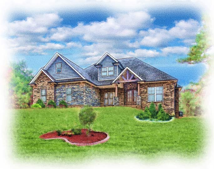 watercolor painting of craftsman style home