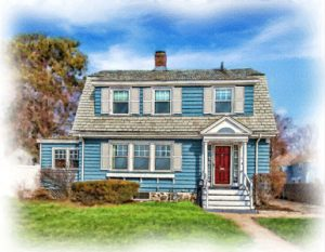 watercolor portrait of blue cottage with red door