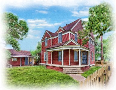 watercolor portriat of unique red home and shed