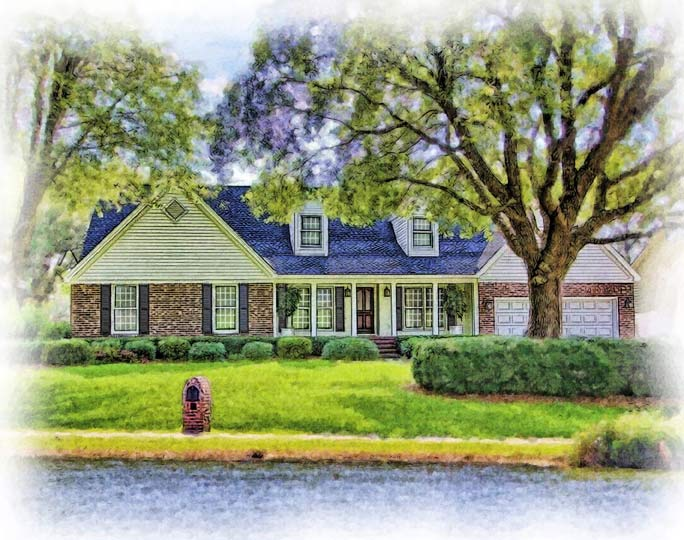 watercolor portrait of yellow and brick ranch house