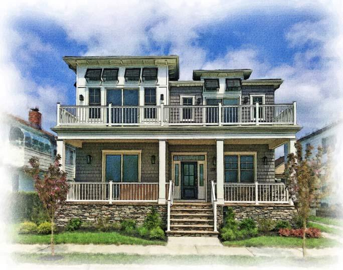 custom watercolor of contemporary beach house