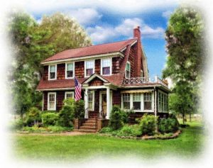 custom watercolor portrait of brown shingled house