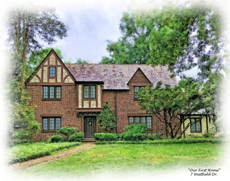 watercolor of tudor house